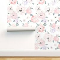 Removable Water-Activated Wallpaper Floral Peonies Blush Green Baby Nursery Girl