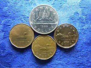 CANADA 1 DOLLAR 1985 KM120.1, 1987UNC KM157, 1993 KM186, 2004UNC KM495