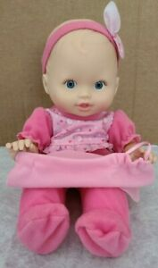 Fisher Price Peek A Boo Blue Eyed Baby Doll in Pink w/ Blanket Interactive Talks