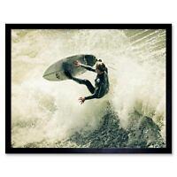 Sport Surfing Surf Surfer Spray Wave Ocean Sea 12X16 Inch Framed Art Print