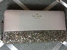 NWT Authentic KATE SPADE neda zip around wallet greta court Glitter READY 2 SHIP