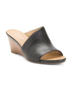 FRANCO SARTO Asymmetric Leather Slide Sandals SZ 6