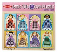 Melissa And Doug Wooden Puzzles Princesses Peek-Through 8-piece Preschool Toy