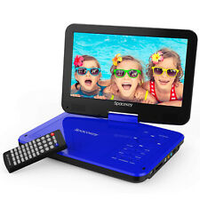 """10"""" Dvd Player 5 Hours Rechargeable Battery Swivel Screen 1.8M Car Charger Blue"""