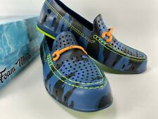 Floaters Men's Size 10 Driver Loafer Blue Cam Lime Green Chairman Bit Shoe