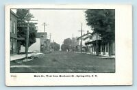 Springville, NY - c1907 STREET SCENE - MAIN W  MECHANIC ST - POSTCARD - H1