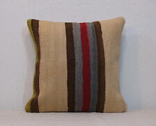 Vintage Wool Pillow,16 x 16 Pillow Cover,Striped Pillow,Kilim Pillow COVER