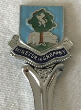 MINISTER IN SHEPPEY Enamel Collectable Souvenir Chrome Plate Spoon +Vinyl Sleeve