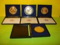 LOT OF 4 AMERICAN REVOLUTION BICENTENNIAL COINS 1972 1974 1975 1976 GOLD PLATED