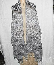 GORGEOUS *PASHMINA STOLE WRAP SCARF SHAWL GATHERED IN PLACES GREY PATTERNS SMART