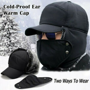 Men Winter Trapper Trooper Hat Ear Flap Face Cover Bomber Aviator Ski Hood Cap