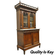 19th Century French Renaissance Walnut Bookcase Sideboard Buffet Hutch Cabinet