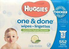 Huggies One & Done Refreshing Baby Wipes,Cucumber & Green Tea 3 Refill 552 wipes