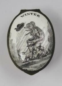 18C English George III Battersea Bilston Enamel Box Season Winter w/ Mirror