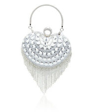 Crystal Diamante Heart/ball Shape Tassel Wedding Evening Clutch Bag for Women Heart Silver