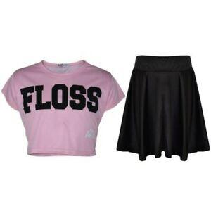 Kinder Mädchen Seide Mode Bauchfreies Top Modisch T-Shirt & Skater Rock Set 5-13