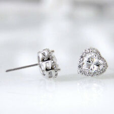 2 Cttw Heart Cut Diamond 10K White Gold Stud Earrings For Womens