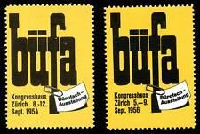 Switzerland Poster Stamp - 1954 & 56, Zurich - BÜFA - Office Exhibition - 2 Diff