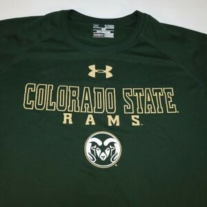 UNDER ARMOUR COLORADO STATE UNIVERSITY RAMS COLLEGE TEE T SHIRT Mens XL Green