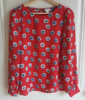 J Crew Womens Red Blue Longfellow Floral Printed Blouse Top Shirt Size Small