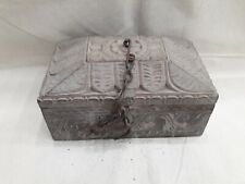 Antique vintage 250years old no joints single wood wooden trinket carving box