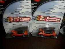 2 LOT Hot Wheels 100% Popular Hot Rodding 3/4 Orange Mercury Cougar Realriders