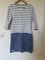 Brakeburn Nautical Thin Denim A Line Dress  Striped Detail Size 8