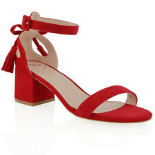 New Womens Ankle Strap Block Low Heel Cut Out Bow Ladies Strappy Sandals Shoes