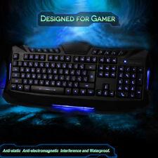 LED Blue Color Backlighting USB Wired Gaming Game Keyboard For Laptop Desktop