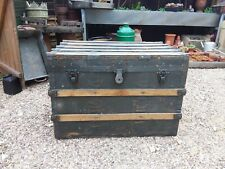 Vintage Wooden Hessian Covered  Banded Trunk