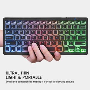 Rii Bluetooth 4.0 Wireless Backlit Keyboard with Rechargeable Battery for iOS/PC