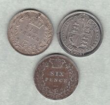 More details for three 1887 withdrawn, young head & revised sixpences fine or better condition