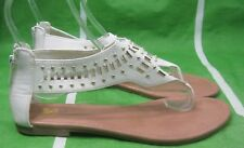 Summer White Gold Stud Womens Shoes Roman Gladiator Sandals Size  8.5