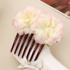 1X Girl Double Silk Colors Rose Flower Hair Comb Hair Clip Wedding Bridal Party