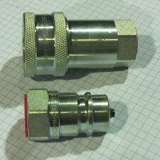 """1/4"""" Hydraulic Coupling Poppet Valve Pull Break ISO 7241-1 Series A 4350 PSI"""
