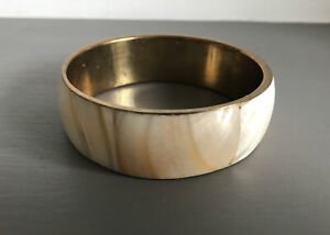 Pretty Natural Shell/Stone Inlaid Bangle Chunky/Vintage Style/Brass/Boho/Hippy