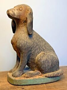 EARLY 20TH CENTURY FOLK ART HAND CARVED WOOD DOG SPANIEL SCULPTURE PAINTED