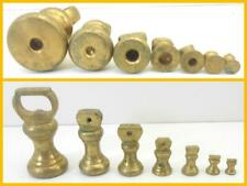 Original Vintage Set 7 Brass Capstan Bell Imperial Brass Weights 1lb To 1/4lb