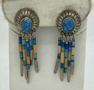 "Navajo Sterling Silver Blue Denim Lapis Dangle Earrings 2"" 4.6g Native American"