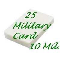 25 Military Card 10 Mil Laminating Pouches Laminator Sheets 2-5/8 x 3-7/8