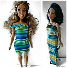 Fashionable Curvy Barbie dresses. Two Candy Stripe outfits for Curvy Barbies