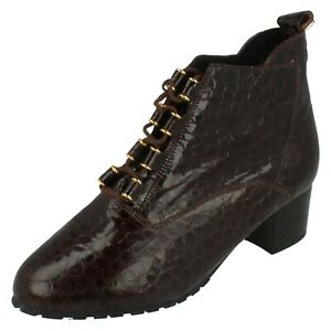 Ladies Elmdale Brown Patent Leather Faux Croc Print Lace Up Ankle Boot LOUISE