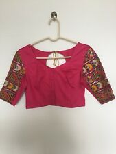 Dressy S/M Button Front Hot Pink Satin Cotton Sari Blouse w Embroidered Sleeves