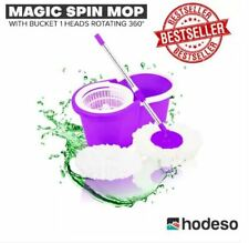 Hodeso Magic Spin Mop W/Bucket 1 Heads Rotating 360° - VIOLET