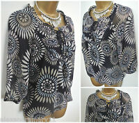 Beautiful M&S Abstract Floral Print Blouse Top Green Blue 6 8 10 12 14 16 18
