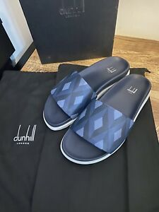 Dunhill Cadogan Sliders Engine Turned Size 42 UK 8 BNWB & Bags RRP £340 Amazing