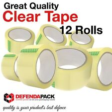 """12ROLLS STRONG QUALITY Low Noise 2"""" 66m LONG CLEAR Sellotape Packing Tapes"""