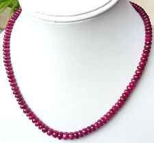 192 Cts Natural African Ruby Sapphire Smoothy Handmade Beads Fine Necklace=16""