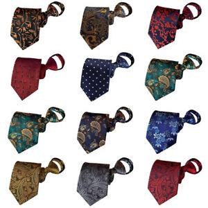 Men Polka Dots Paisley 8CM Wide Zipper Neckties Pre-tied Wedding Party Ties