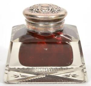 "Art Nouveau Cut Glass w/ Red Well & Sterling Top Inkwell, 2 7/8"" by 3 7/8"""